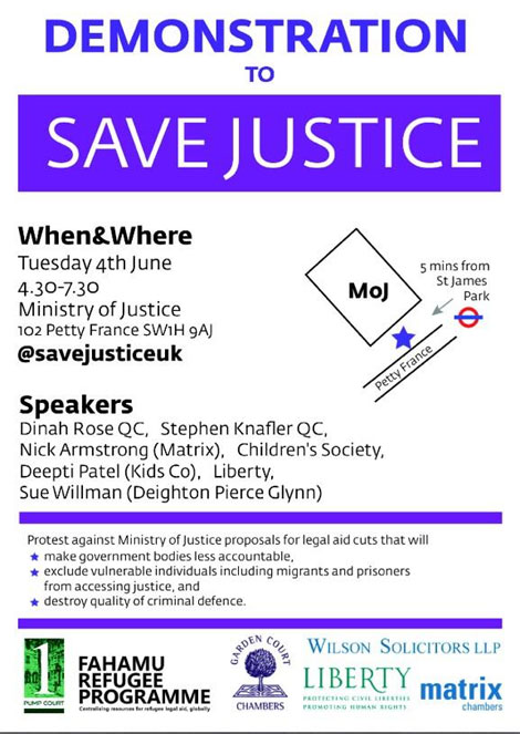 Save UK Justice poster